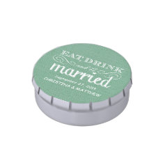 Eat, Drink, be Married Rustic Burlap Wedding Favor Jelly Belly Candy Tin at Zazzle