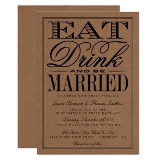 Eat, Drink & Be Married Rustic Kraft Wedding Card