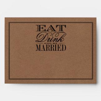 Eat, Drink & Be Married Rustic Kraft Wedding Envelope