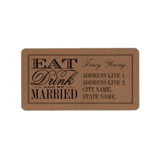 Eat, Drink & Be Married Rustic Kraft Wedding Label