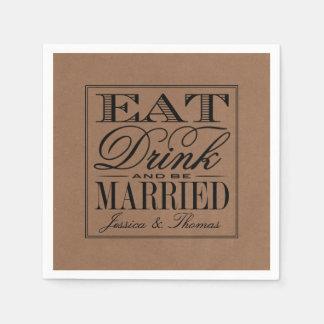 Eat, Drink & Be Married Rustic Kraft Wedding Paper Napkin