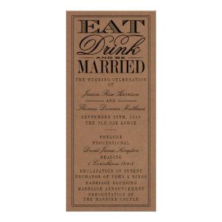 Eat, Drink & Be Married Rustic Kraft Wedding Rack Card