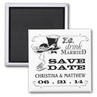Eat Drink be Married Save the Date 2 Inch Square Magnet