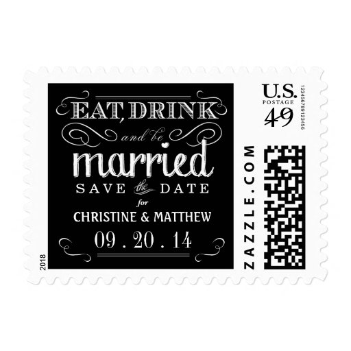 Eat Drink be Married Save the Date Postage