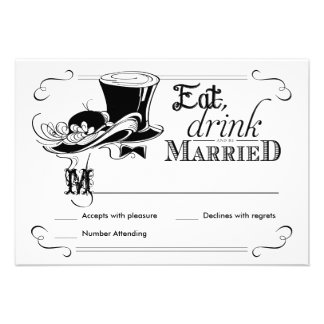 Eat Drink be Married Vintage RSVP Reply Cards