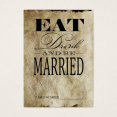 Eat Drink & Be Married, Vintage Table Number Cards at Zazzle