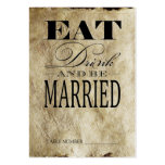 Eat Drink & be Married, Vintage Table Number Cards Business Card Templates