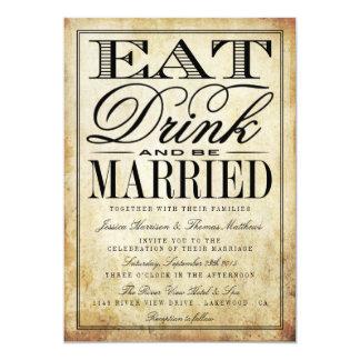 Eat, Drink & Be Married Vintage Wedding Card