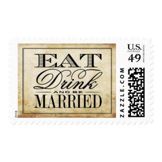 Eat, Drink & Be Married Vintage Wedding Postage
