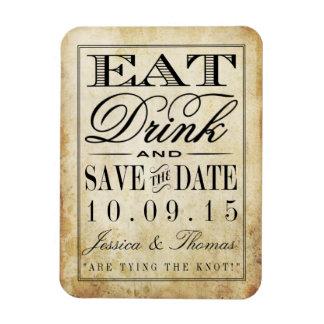 Eat, Drink & Be Married Vintage Wedding Rectangular Photo Magnet