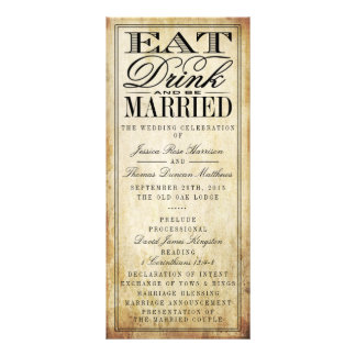 Eat, Drink & Be Married Vintage Wedding Rack Card