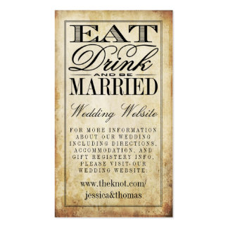 Eat, Drink & Be Married Vintage Wedding Website Double-Sided Standard Business Cards (Pack Of 100)