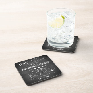 Eat, Drink & Be Married Wedding Coaster Set (6)