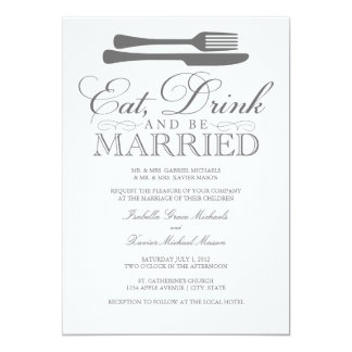 Eat, Drink & Be Married | Wedding Invitation