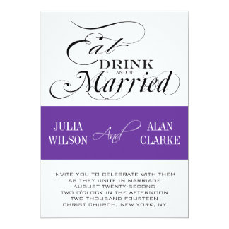 Eat, Drink, Be Married Wedding Invitations Purple
