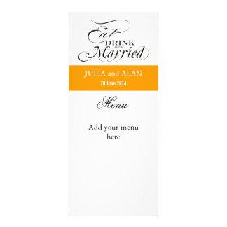 Eat, Drink,  Be Married Wedding Menu Card Orange Invitations