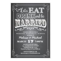 Eat, Drink & Be Married Wedding Rehearsal Dinner Card