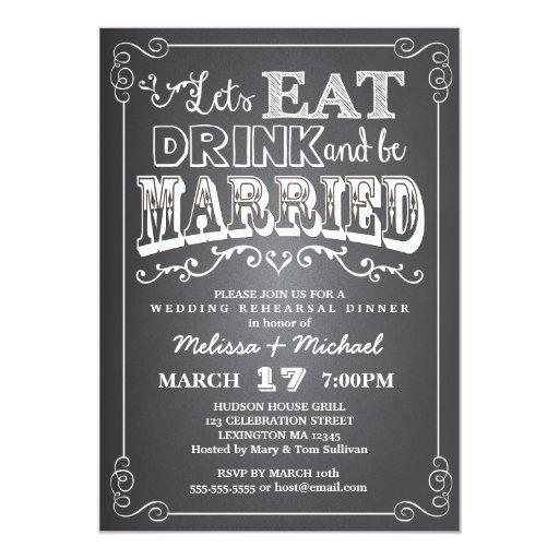 Eat Drink Amp Be Married Wedding Rehearsal Dinner Card