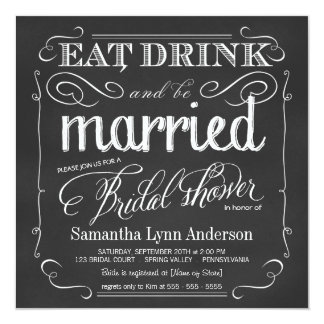 Eat Drink be Married Wedding Shower Invitations