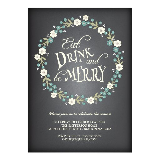 Eat Drink & Be Merry Berry Wreath Christmas Party Personalized Invite
