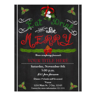 EAT DRINK BE MERRY Christmas Chalk Party Flyer