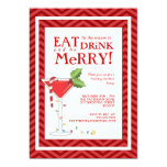 Eat Drink & be Merry Christmas Cocktail Party 5x7 Paper Invitation Card