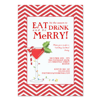 Eat Drink & be Merry Christmas Cocktail Party Card