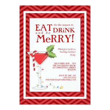 Christmas Themed Eat Drink & be Merry Christmas Cocktail Party Card