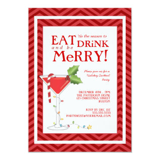 Eat Drink & Be Merry Christmas Cocktail Party Card at Zazzle