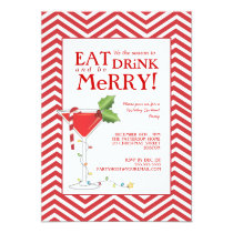Eat Drink & be Merry Christmas Cocktail Party Invitation