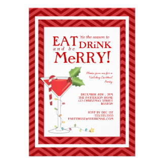 Eat Drink & be Merry Christmas Cocktail Party Personalized Announcements