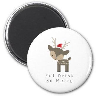 Eat Drink Be Merry Christmas Deer In Red Santa Hat 2 Inch Round Magnet