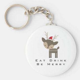 Eat Drink Be Merry Christmas Deer In Red Santa Hat Keychain