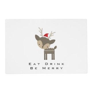 Eat Drink Be Merry Christmas Deer In Red Santa Hat Placemat