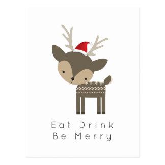 Eat Drink Be Merry Christmas Deer In Red Santa Hat Postcard
