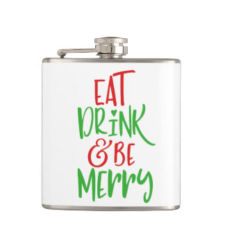 Eat Drink & Be Merry Christmas Flask