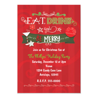 EAT DRINK & BE MERRY Christmas Holiday Invitations