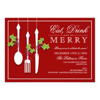 Eat Drink & be Merry Christmas Holiday Party 5x7 Paper Invitation Card