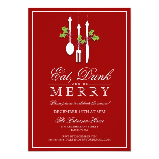 Eat Drink & Be Merry Christmas Holiday Party Card