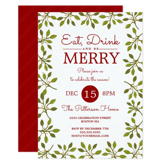 eat drink  u0026 be merry christmas holiday party invitation