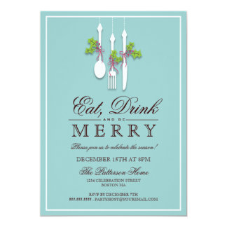Eat Drink & Be Merry Christmas Holiday Party Invite
