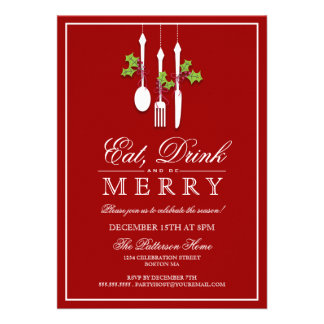 Eat Drink & Be Merry Christmas Holiday Party Custom Invitations
