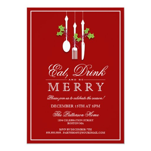 Christmas Party Invites: Eat Drink & Be Merry Christmas Holiday Party Custom