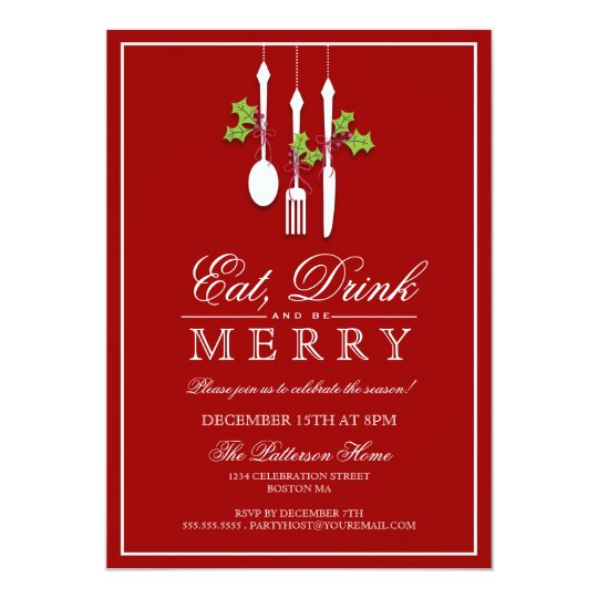 eat drink be merry christmas holiday party invitation zazzle com