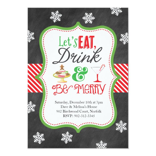 Eat, Drink, Be Merry Christmas Party Card