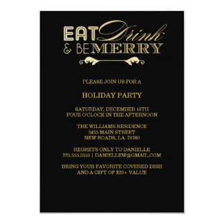 Eat Drink Be Merry Christmas Party | Gold Glitter Card
