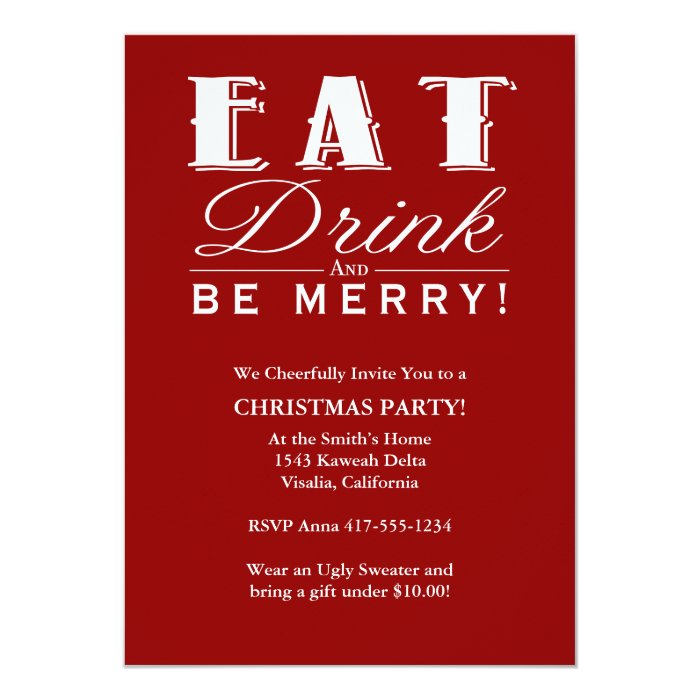 Eat Drink & Be Merry Christmas Party Invitation   Zazzle