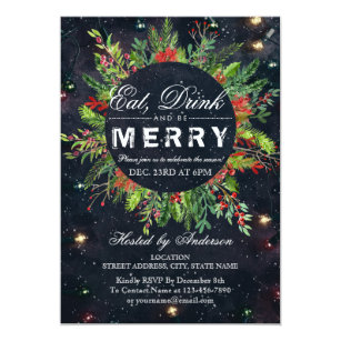 Eat Drink Be Merry Christmas Party Invitation