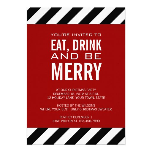 eat drink be merry christmas party invitation 5 u0026quot  x 7
