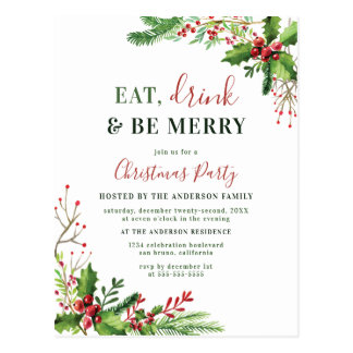 Eat, Drink & Be Merry   Christmas Party Invitation Postcard